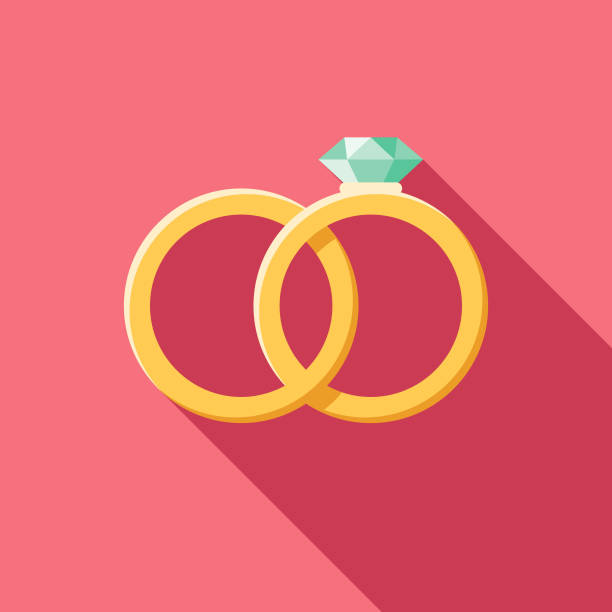 wedding flat design rings icon with side shadow - marriage stock illustrations