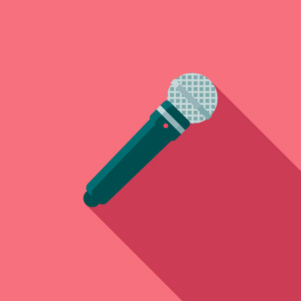 Wedding Flat Design Speech Icon with Side Shadow A flat design styled wedding icon with a long side shadow. Color swatches are global so it's easy to edit and change the colors. microphone stock illustrations