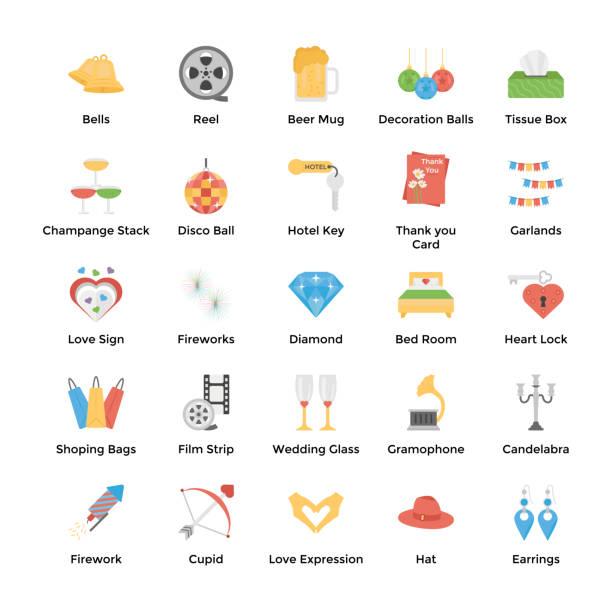 flache hochzeit vektoren pack - glasohrringe stock-grafiken, -clipart, -cartoons und -symbole