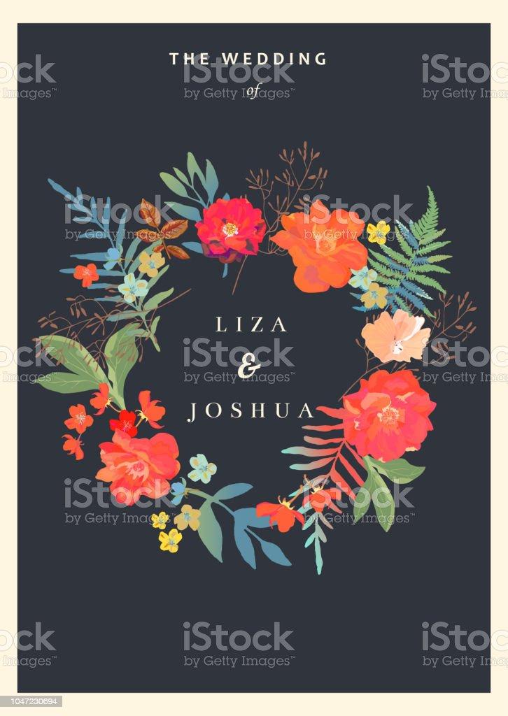 Hochzeit Blumen Hintergrund Bunte Einladung Karten Fur Desig Stock