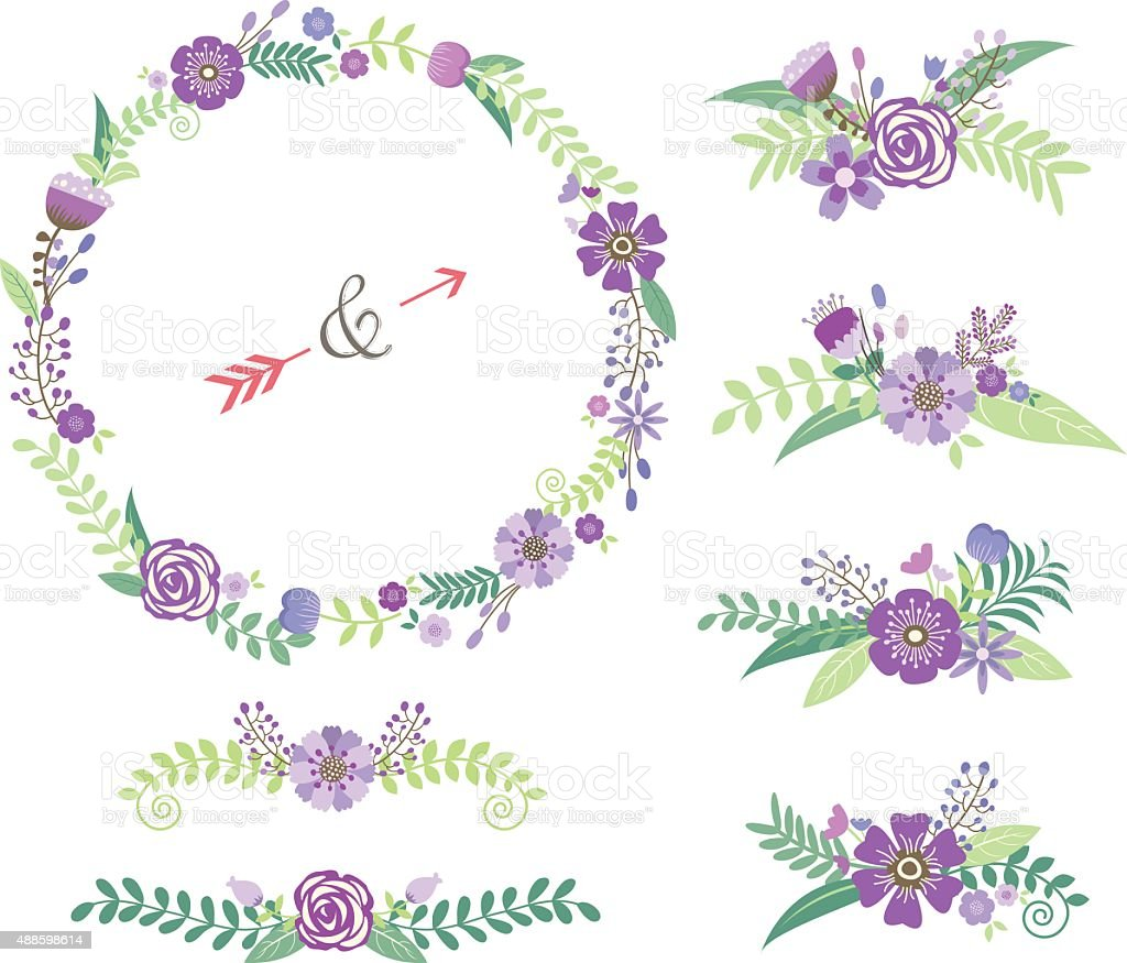 wedding floral elements stock vector art more images of 2015 rh istockphoto com Lilac Sprig Clip Art Lily Clip Art