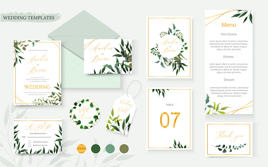 Wedding floral gold invitation card envelope save the date rsvp menu table clipart