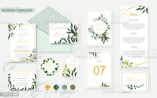Wedding floral gold invitation card envelope save the date rsvp menu vector id1041124760?b=1&k=6&m=1041124760&s=612x612&h=pjwl4gwyly 5gtsioppzodaa98iycx186yy0xu7oclc=
