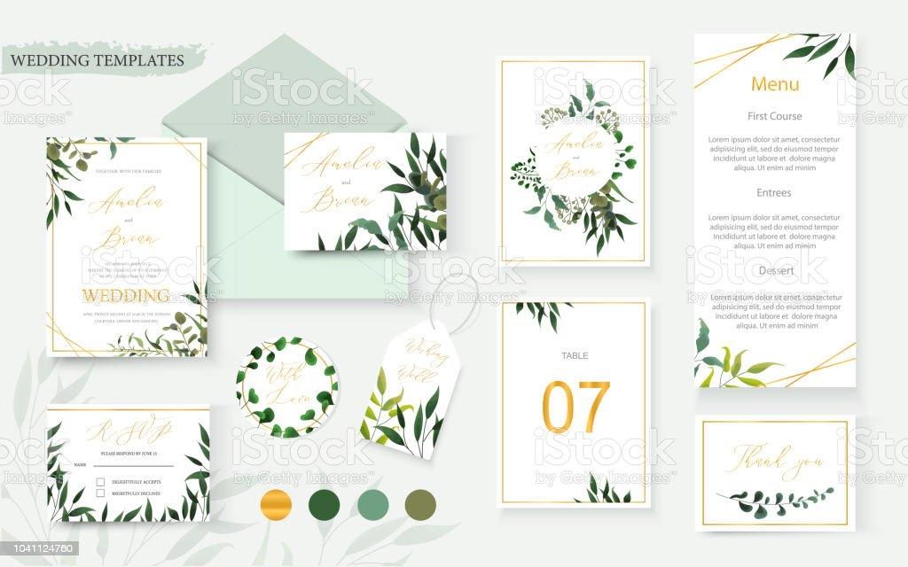 Sobre de la tarjeta de invitación oro floral guarde la fecha rsvp menú de boda - ilustración de arte vectorial