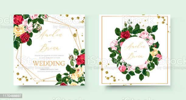 Wedding floral golden geometric invitation card with flowers roses vector id1170466697?b=1&k=6&m=1170466697&s=612x612&h=xtomcvclsocejphg btj1cldprcyygjclsu5lt06qjg=