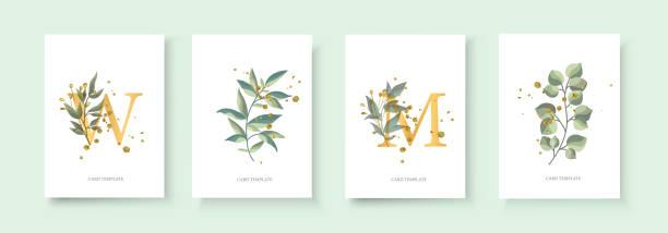 wedding floral golden invitation card envelope save the date - botanika stock illustrations