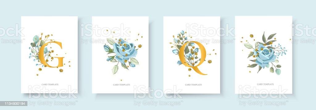 Wedding floral golden invitation card envelope save the date with nature plant векторная иллюстрация