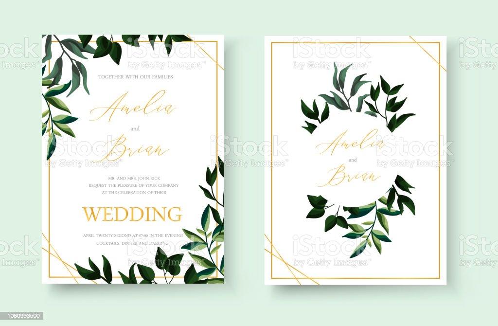 Wedding Floral Golden Invitation Card Save The Date Design Stockowe Grafiki Wektorowe I Więcej Obrazów Akwarela