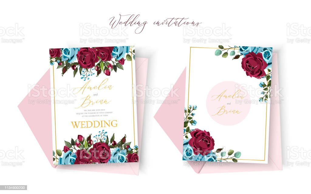 Wedding floral golden invitation card save the date design with bordo navy blue roses векторная иллюстрация