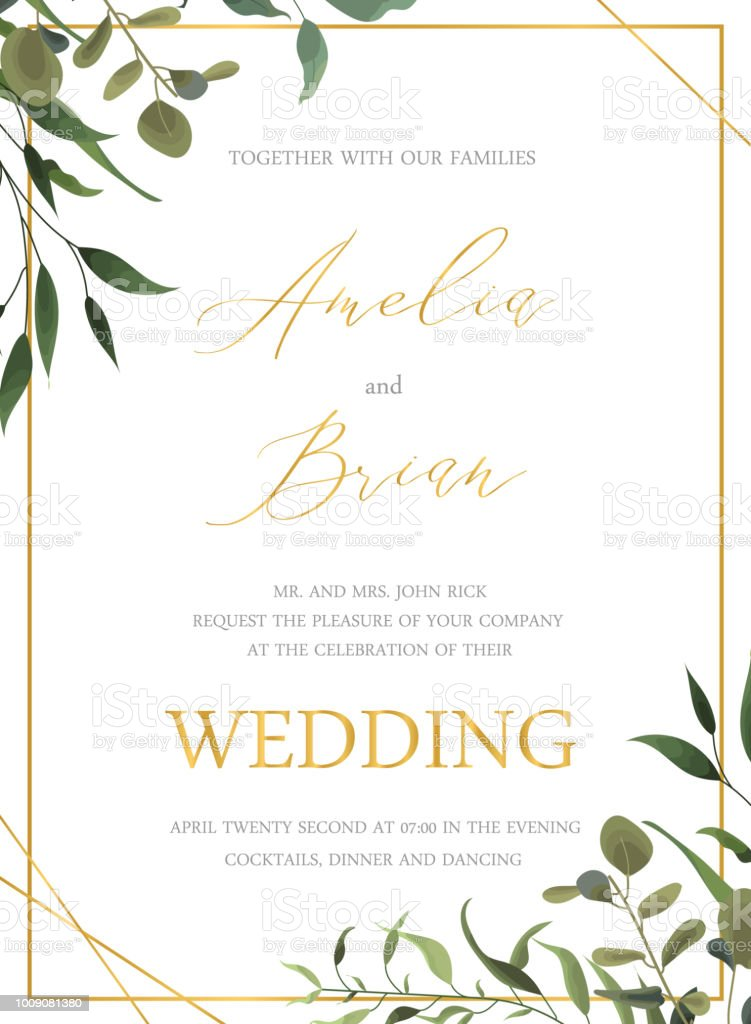 Wedding floral golden invitation card save the date design with green tropical leaf vector art illustration