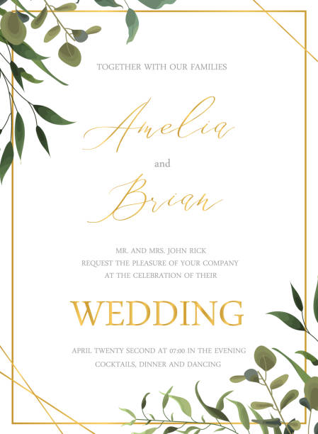 wedding floral golden invitation card save the date design with green tropical leaf - invitation card stock illustrations, clip art, cartoons, & icons