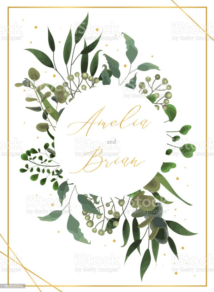 wedding floral golden invitation card save the date design with