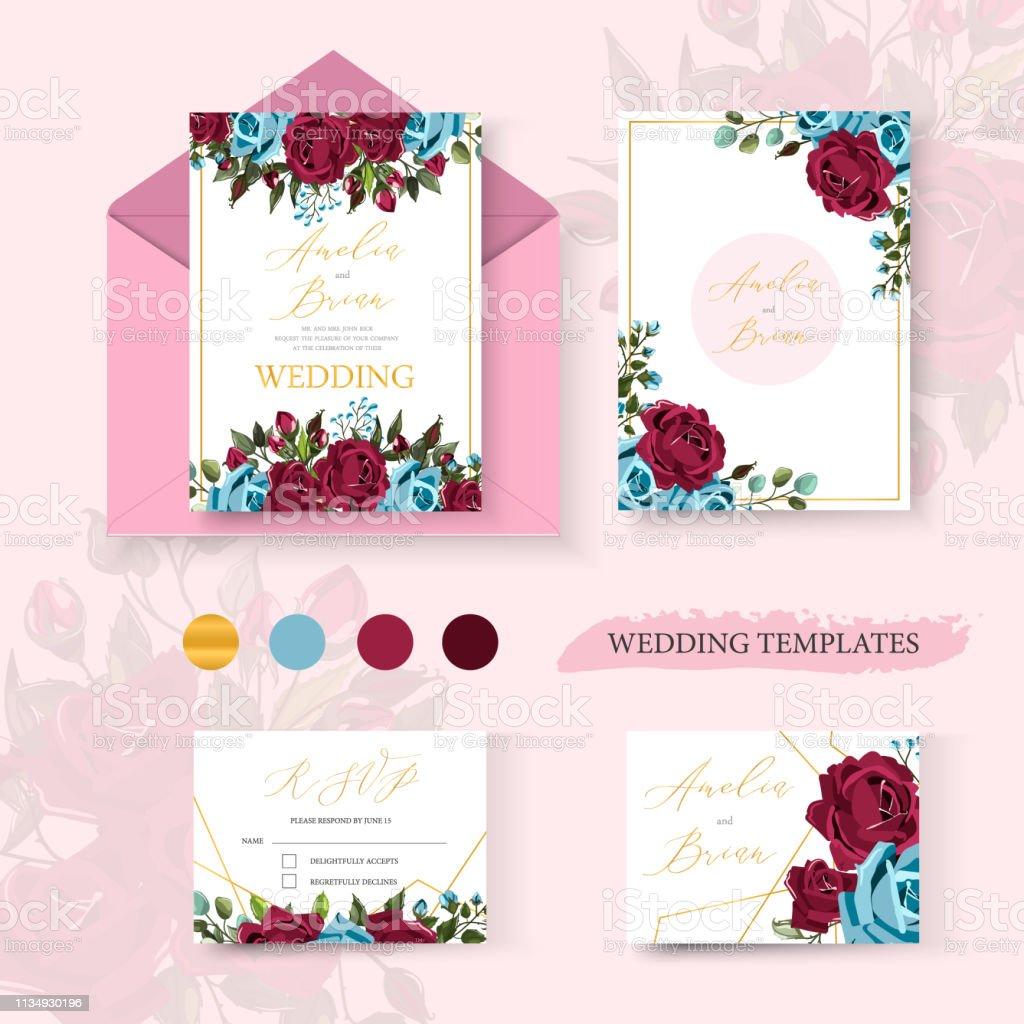 Wedding floral golden invitation card save the date design with flowers roses векторная иллюстрация