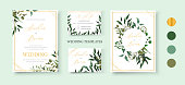 Wedding floral golden invitation card save the date rsvp design with green tropical leaf herbs eucalyptus wreath and frame. Botanical elegant decorative vector template watercolor style