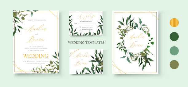 illustrazioni stock, clip art, cartoni animati e icone di tendenza di wedding floral golden invitation card save the date rsvp design - matrimonio