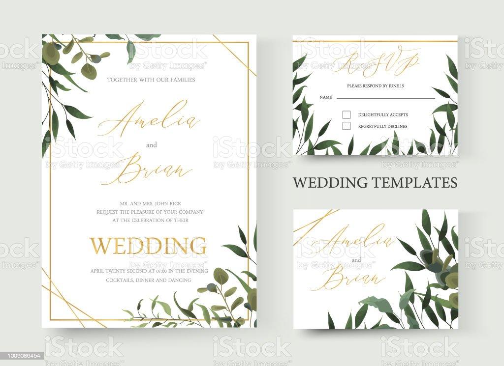 wedding floral golden invitation card save the date rsvp design with