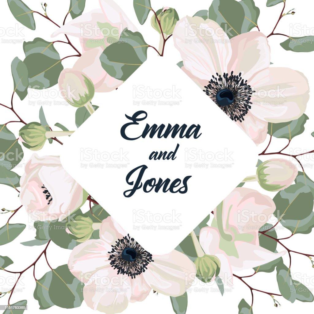 Ilustración De Boda Floral Dibujado A Mano Invitación Diseño