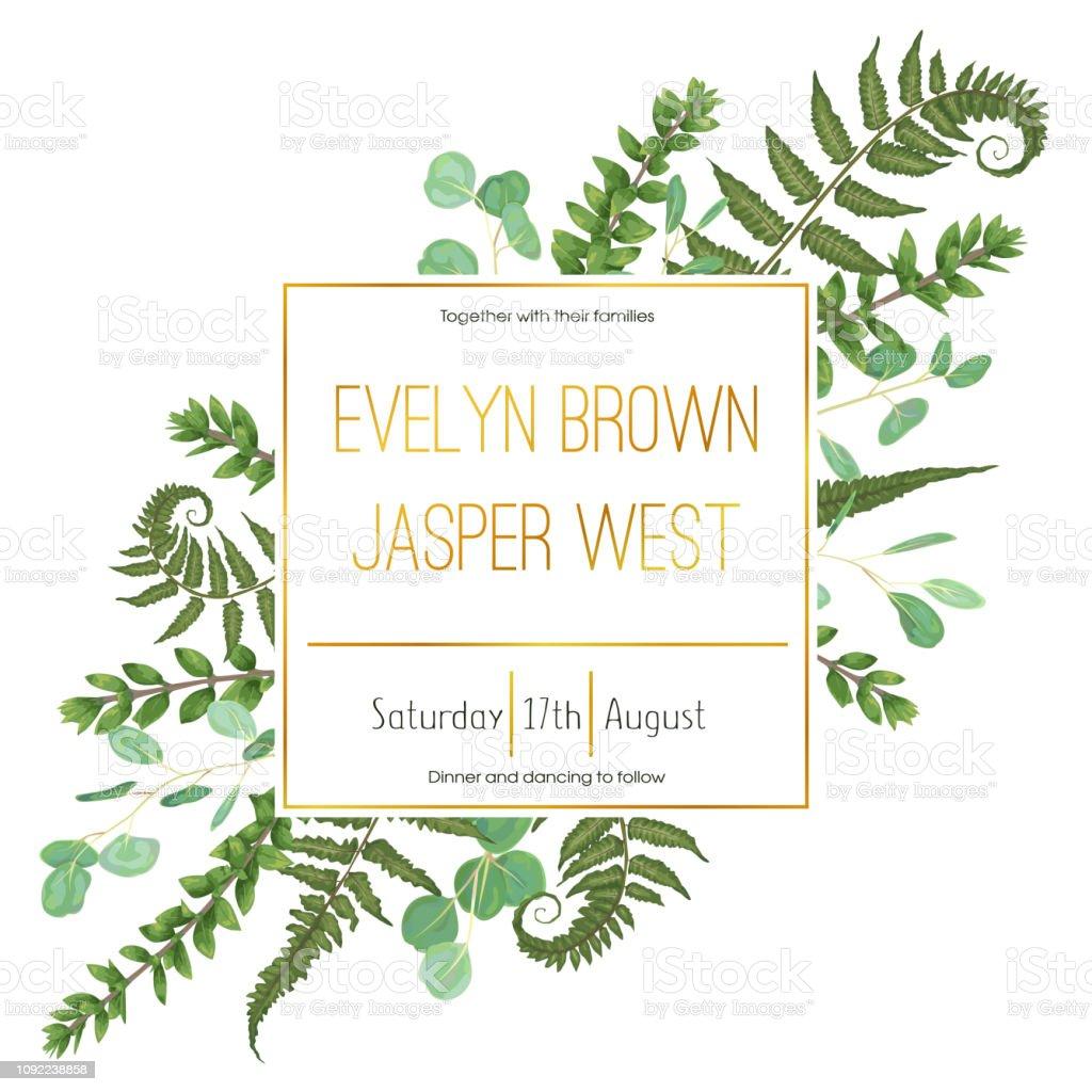 Wedding Floral Invitation Invite Card Vector Watercolor Set