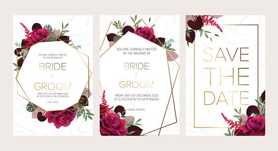 Wedding floral invitation, save the date card design with dark red roses, burgundy red astilbe, monstera, viola lily leaves & elegant golden geometric decoration.