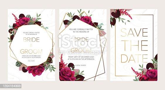 Wedding floral invitation, save the date card design with dark red roses, burgundy red astilbe, monstera, viola lily leaves & elegant golden geometric decoration. Geometric botanical vector design frame.Trendy wedding card.