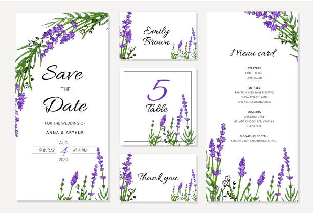 Wedding floral invitation set withlavender. Menu card, save the date and table cards, modern layout. Doddle illustration set. cartable stock illustrations