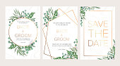 Wedding floral invitation, thank you modern card: rosemary, eucalyptus branches wreath on white marble texture with a golden geometric pattern. Elegant rustic template. All elements are isolated and editable