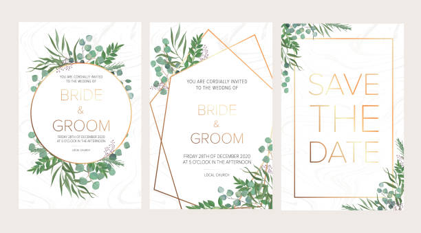 Wedding floral invitation, thank you modern card: rosemary, eucalyptus branches wreath on white marble texture with a golden geometric pattern. Elegant rustic template. All elements are isolated and editable Wedding floral invitation, thank you modern card: rosemary, eucalyptus branches wreath on white marble texture with a golden geometric pattern. Elegant rustic template. All elements are isolated and editable wedding invitation stock illustrations