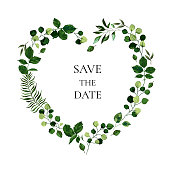 istock Wedding floral invite card save the date design with botanic green leaf herbs heart shape 1198452063