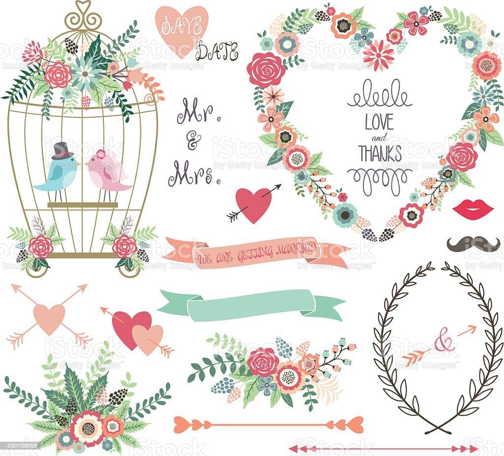 Wedding Floral, love Bird,Laurels set. vector art illustration