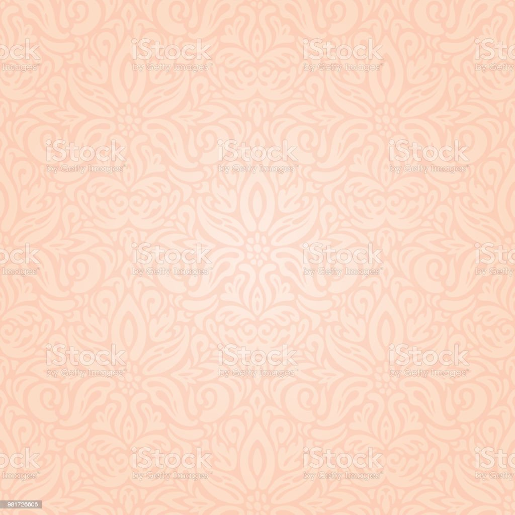 結婚式の花の淡いベージュ色ベクトル パターン壁紙デザイン ばら色の