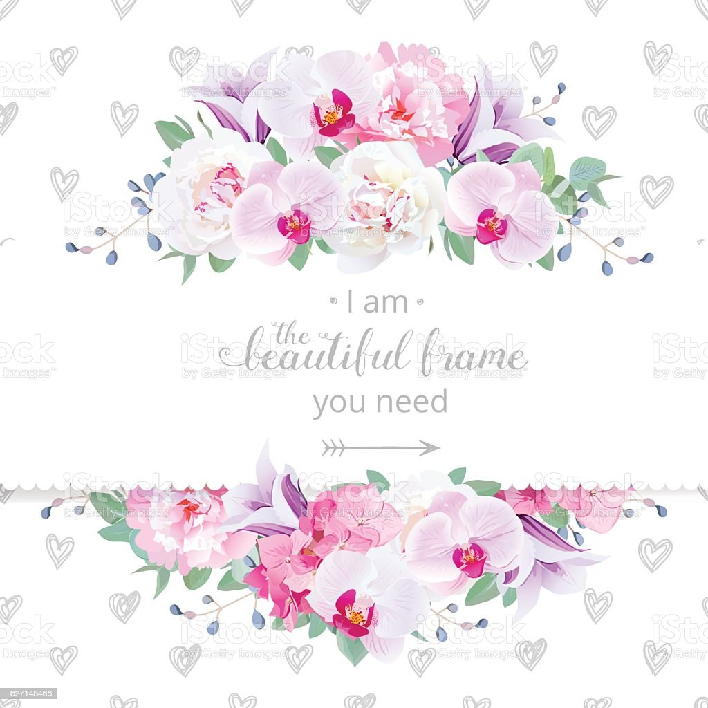 Wedding floral vector design horizontal card. ベクターアートイラスト