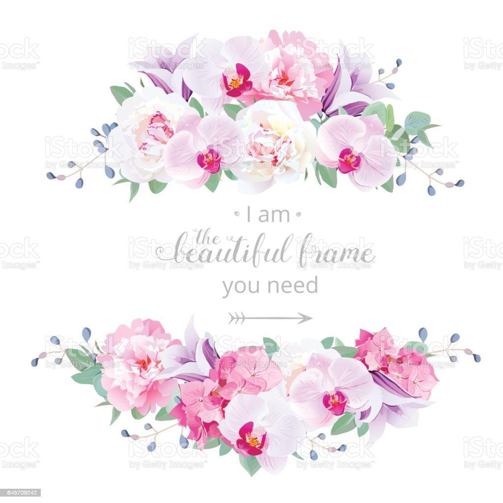 結婚式の花のベクトルのデザインの横型カード ベクターアートイラスト