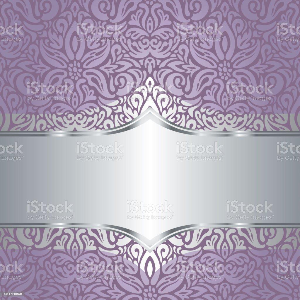 Wedding Floral Violet Silver Vector Background Design Royalty Free