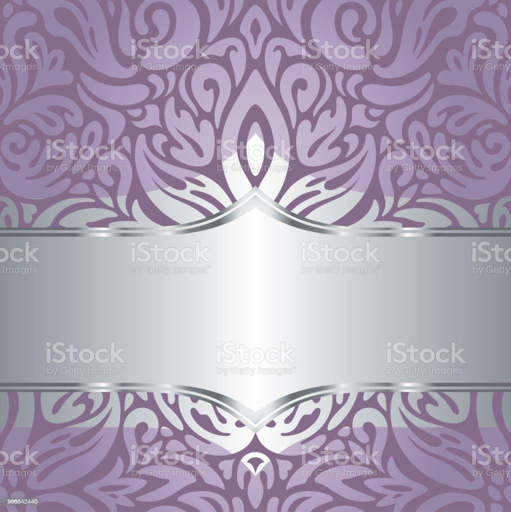 Wedding Floral Violet Silver Vector Holiday Background Invitation Design Fashionable Decorative Retro Royalty Free