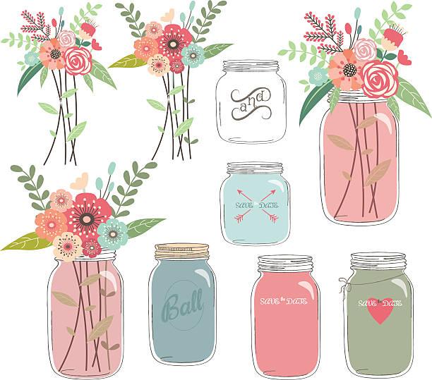 hochzeit blumen mit mason jar - glasblumen stock-grafiken, -clipart, -cartoons und -symbole