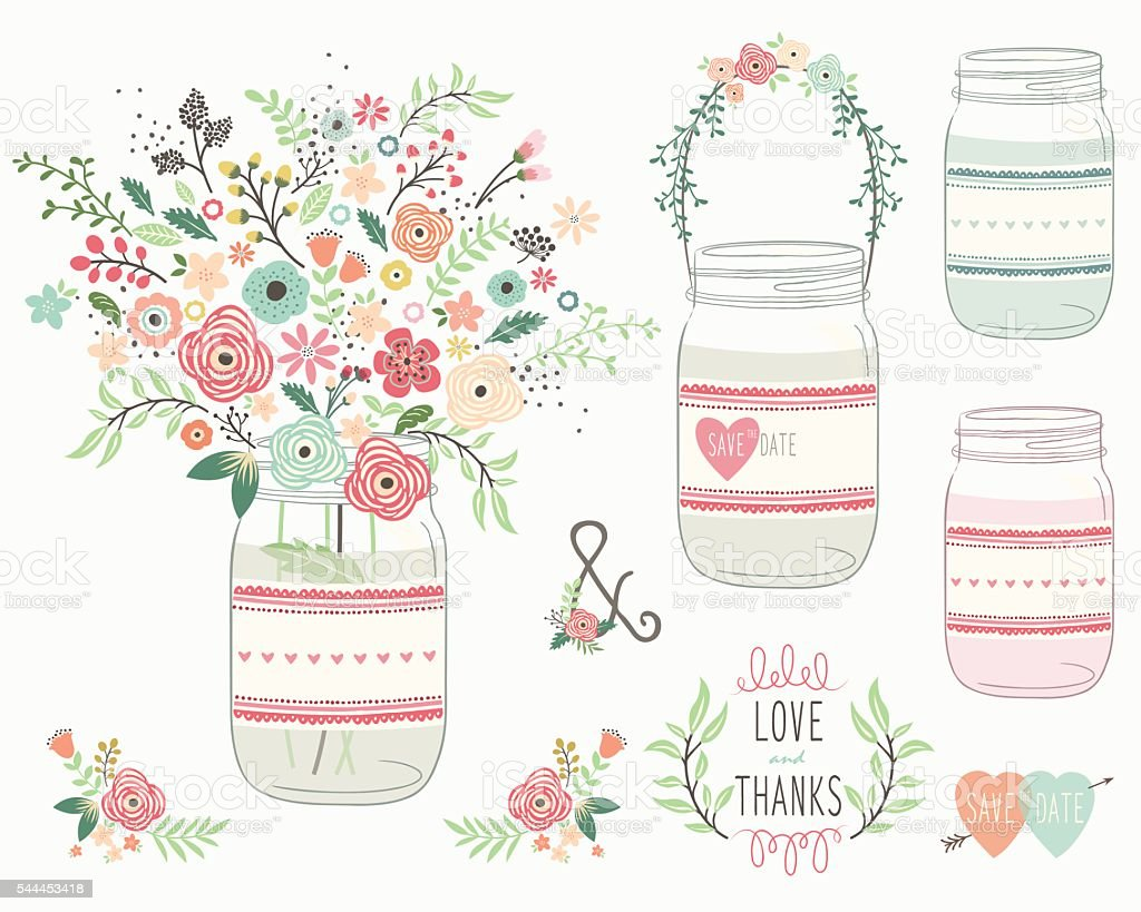 Wedding Flower Mason Jar- Illustration vector art illustration