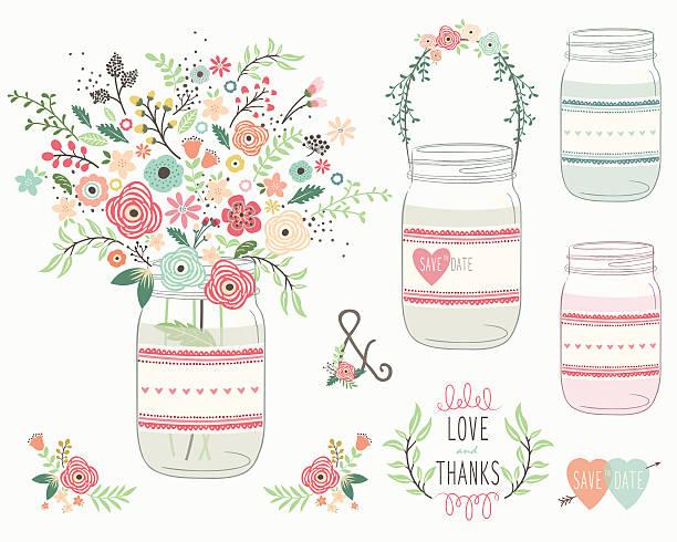hochzeitsbouquet mason jar- illustrationen - glasblumen stock-grafiken, -clipart, -cartoons und -symbole