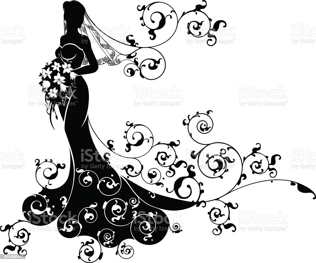 Wedding Flower Line Drawing : Wedding flowers bride silhouette pattern stock vector art
