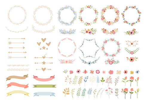 Wedding flowers elegant decoration colorful vector illustrations set
