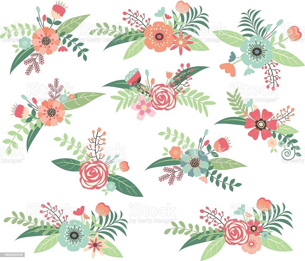 Wedding Flower,Wedding Floral Collection vector art illustration