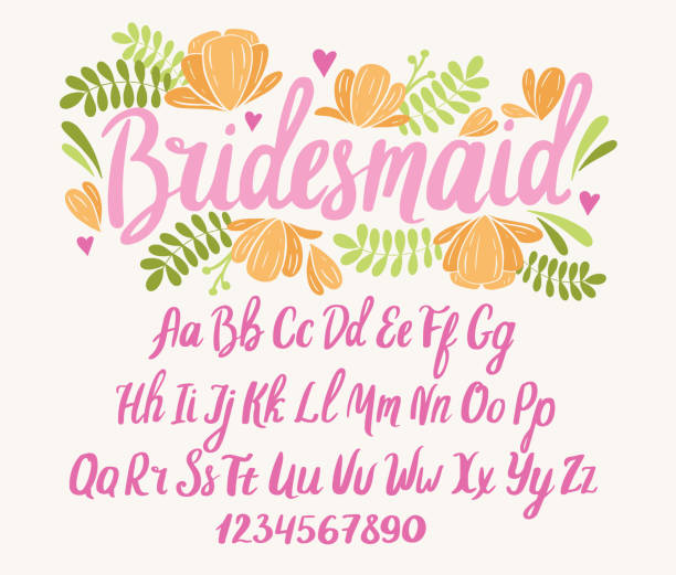 Wedding font. Typography alphabet with colorful romantic illustrations. Wedding font. Typography alphabet with colorful romantic illustrations. Handwritten script for party celebration and crafty design. Vector with hand-drawn lettering. svg stock illustrations