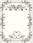 Wedding Card. Two beautiful Swans in Love. ZIP contains AI format, PDF and XXXLarge jpeg.
