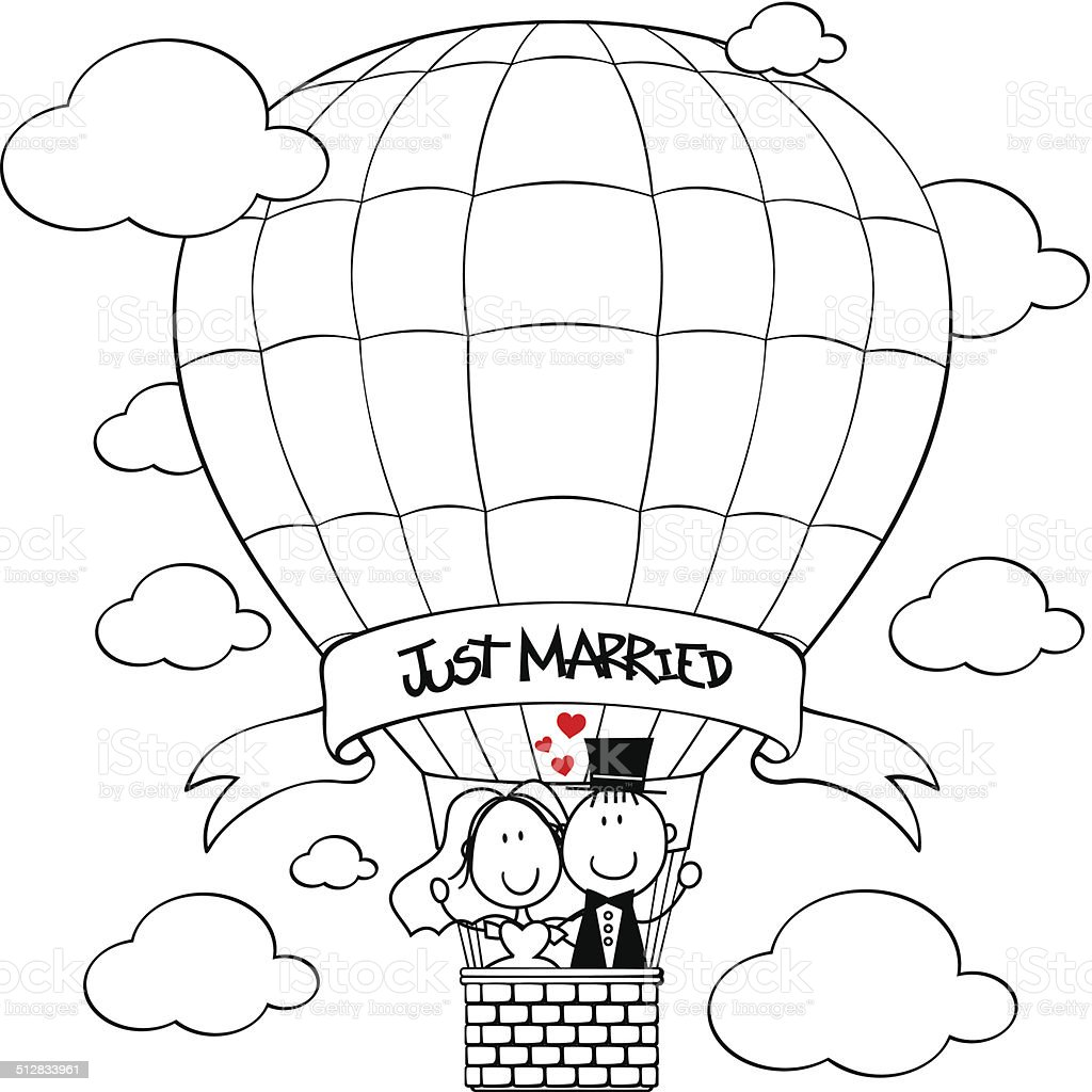 wedding funny just married vector art illustration