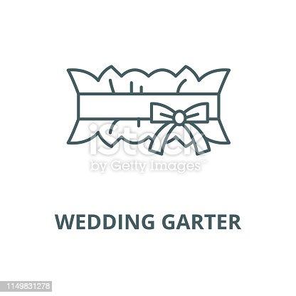 Wedding garter vector line icon, outline concept, linear sign