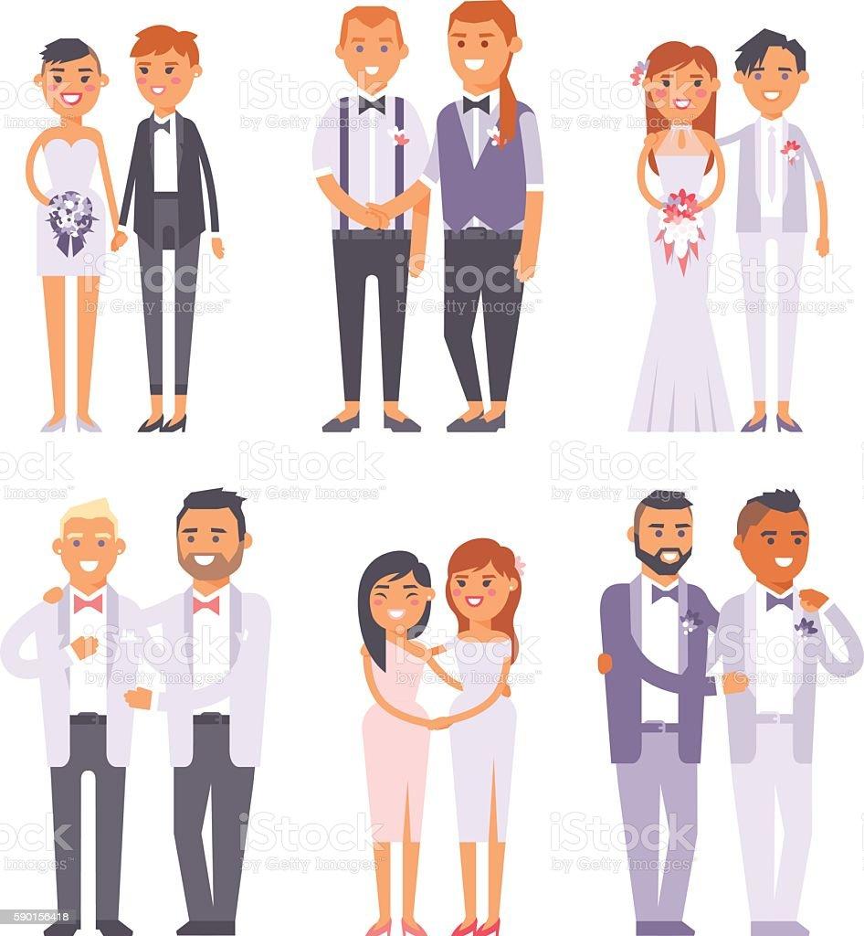 Wedding gay couples vector characters - ilustración de arte vectorial
