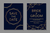 Set of two cards with modern golden geometric borders on a navy blue background.