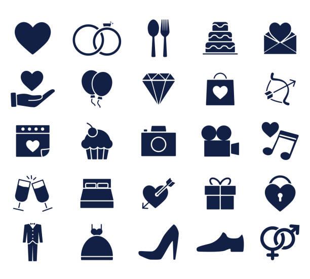 ilustraciones, imágenes clip art, dibujos animados e iconos de stock de conjunto de iconos de boda glifo - casados