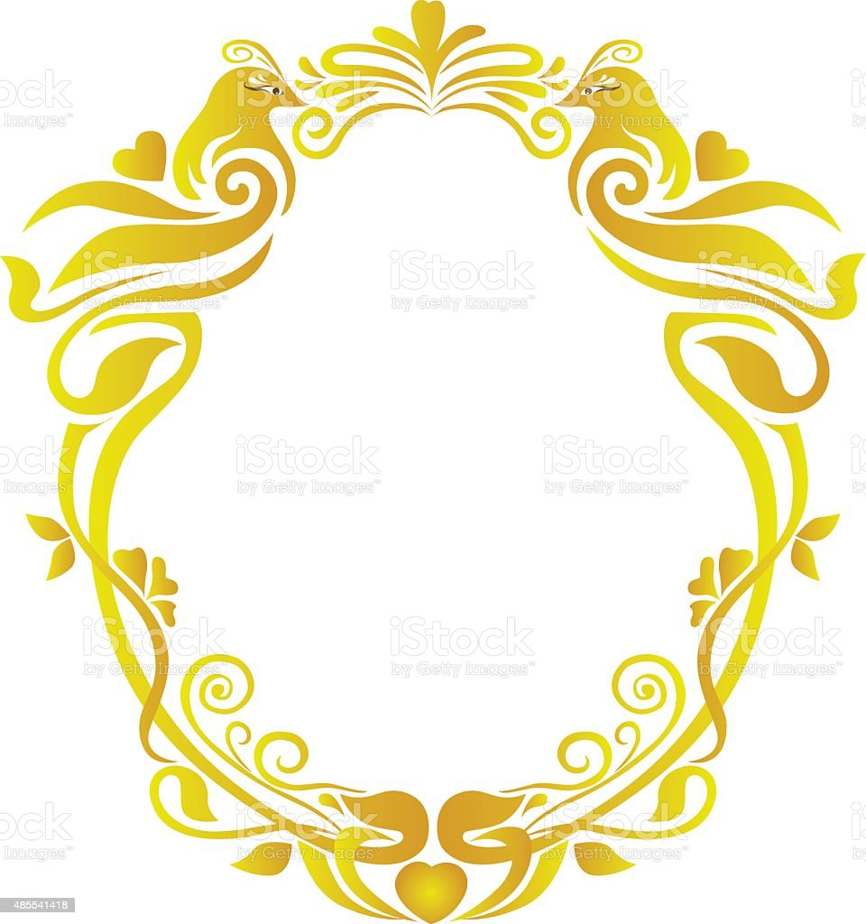 wedding gold oval floral frame stock vector art more images of rh istockphoto com