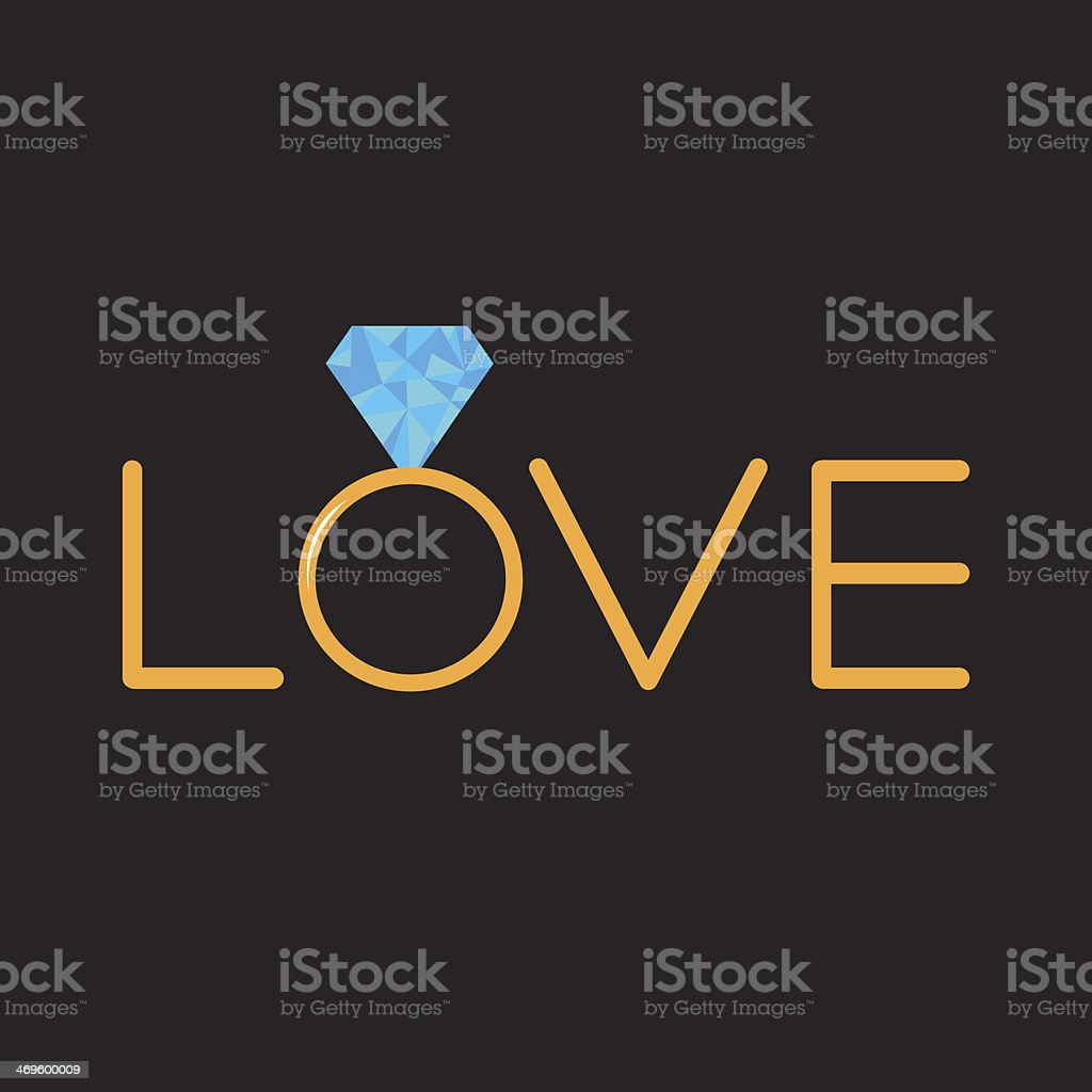Wedding  gold ring with polygonal blue diamond. Word love. Card royalty-free stock vector art