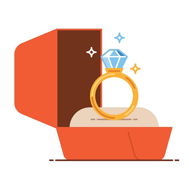 wedding golden ring in a gift box. save the date - 婚約点のイラスト素材/クリップアート素材/マンガ素材/アイコン素材